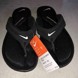 Nike ultra comfort thongs sandals black size 9 new